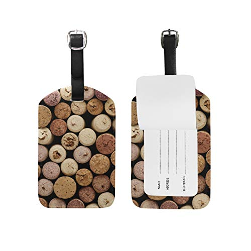 Eslifey Retro Wine Corks PU Leather Suitcase Labels Tag Luggage Tags Privacy Cover for Travel Bag