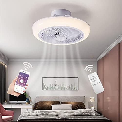 Ventilador de Techo con Iluminación Mandoa Distancia, Modernos LED 72W Luzlampara, Silencioso Aspas Invisible Regulable Temporizador Velocidaddel Viento, Puede usarse como Sala de Estar Cuarto
