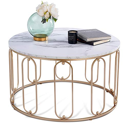 Ivinta Modern Round Coffee Table for Living Room 31.5 inch White Tables with Marble Finish Tea Table Side Cocktail Tables (White)