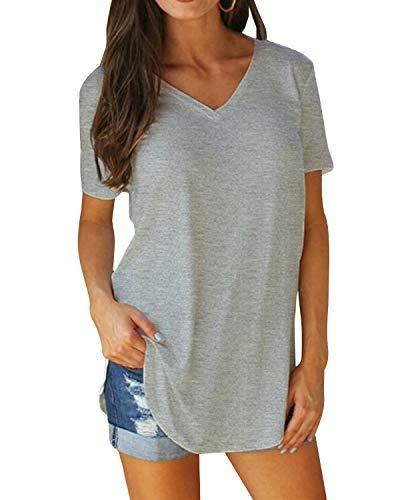 Yidarton Damen Sommer T-Shirt Basic Kurzarm Tops V-Ausschnitt Lockere Oberteile Solide Casual Shirts, Grau, M