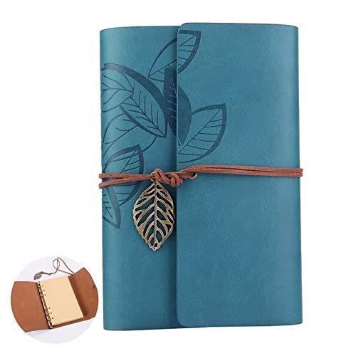 Retro Vintage Hojas Cuaderno Cuaderno Diario con Funda de Cuero Vintage Cuaderno de Cuero A6 Cuero de la PU Cuaderno Agenda Dibujo Hojas Blancas Cuero Vintage Bloc de Notas para Idea de Regalo
