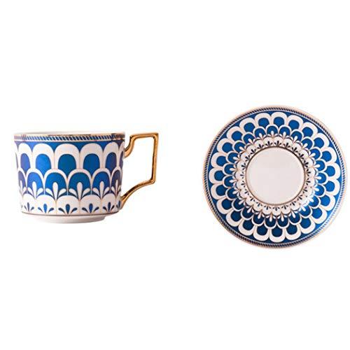 Juego de tazas de café de 250 ml con patrones geométricos azules y blancos, taza de té de cerámica con platillo para café, capuchino, té o leche (azul)