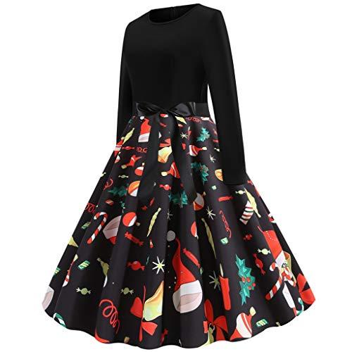 TEELONG Kleider Damen Fashion Christmas Print Kleid Round Neck Zipper Bow Hepburn Party Dress Ballkleid Partykleid Cocktailkleid(rot, S)