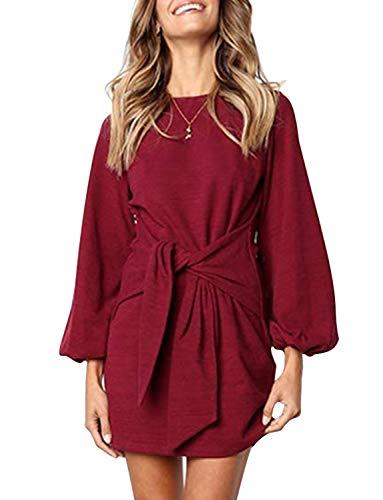 BUOYDM Vestido Mujer Vestidos Elegante a Punto Vestido de cóctel Retro Vintage Primavera Verano Rojo Burdeos L