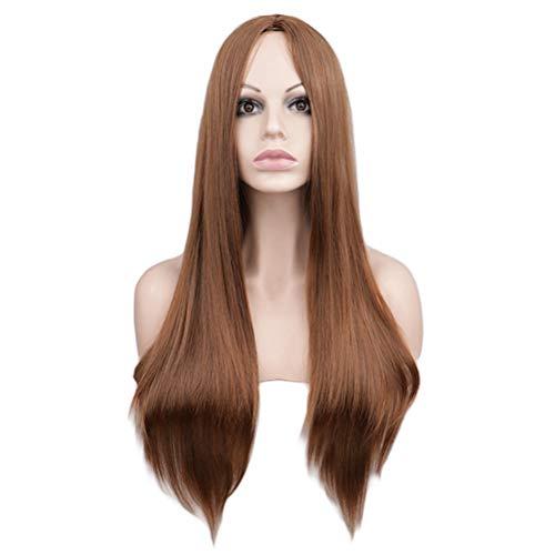 Cuir Chevelu Mi-long Noir Cheveux Raides Anime Perruque Stade Performance Cos Femme Teinture Chaude 70cm (Color : Light brown)