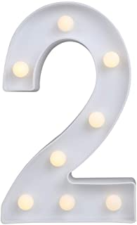 MUMUWIND Decorative Led Light Up Number Letters, White Plastic Marquee Number Lights Sign Party Wedding Decor Battery Operated Number (2)