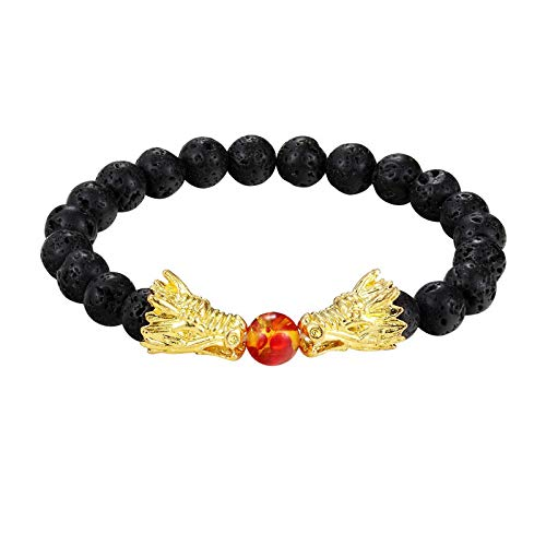 Jewellery Bracelets Bangle For Men Fashion Black And White Beads Bracelet Natural Stone Black Bead Two Dragon Play One Ball Male Female Jewellery Gold
