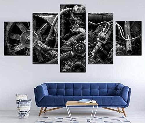 KSFBHC 5 Pezzi di Arte della Parete Quadro su Tela Stampa su Tela Moderna 5 Pezzi Quadro su Tela 5 Pezzi Vintage Car Engine Wall Art Quadri Moderni Soggiorno Quadri Cucina Quadri Camera da Letto