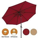 AECOJOY 9FT Patio Umbrella Outdoor Easy Tilt with 8 Ribs for Garden Deck Pool Patio, Red