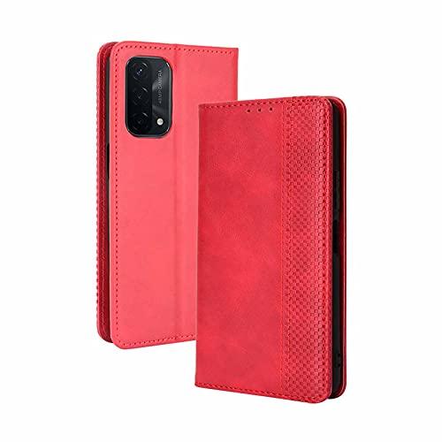 LEYAN Leder Folio Hülle für Oppo A54 5G / Oppo A74 5G, Lederhülle Brieftasche Mit Kartensteckplätzen, Premium Flip PU/TPU Handyhülle Schutzhülle Hülle Cover mit Ständer Funktion (Rot)