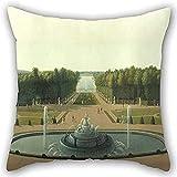 n/a fodera per cuscino di john vanderlyn-vista panoramica del palazzo e dei giardini di versailles per lounge 18x18 pollici (lati doppi)