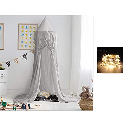Bed Canopy for Children,Princess Bed Canopy Net for Baby Bed, Round Dome Kids Indoor Outdoor Castle Play Tent Hanging House for Christmas Decoration(Chiffon Tassel,Grey)