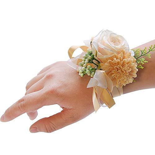 Braccialetto da sposa matrimonio da polso fiore rosa nastro di seta sposa corsetto mano decorativo braccialetto da damigella d'onore tenda clip bouquet fiore polso (colore : polso fiore 3)
