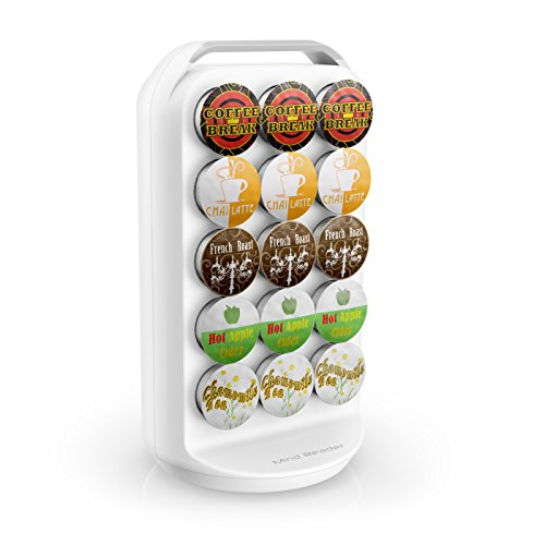 Mind Reader 30-Capacity K-Cup Storage Holder, White Coffee Pod Carousel