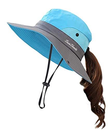 Damen Faltbarer Sonnenhut Sommerhut UV Schutz Wanderhut Fischerhut Gartenhut Wasserdicht Outdoor Buschhut mit Verstellbare Kinnband