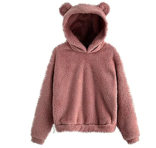 FMYONF Sudadera con capucha para mujer con forma de oso, de forro polar, para otoño e invierno, de manga larga, monocolor, estilo Kawaii, Rosa., M