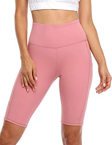 Anwell Sportswear Damen Set Leggins kurz Tummy Compression Leggings Sport Leggings mit Taschen Sport Leggings Push Up Blickdicht Pink M