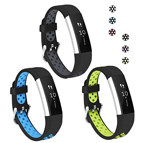 Jobese Compatible with Fitbit Alta Bands/Alta Hr/Ace, (3 Pack) Soft Breathable Silicone Replacement Wristbands Compatible with Fitbit Alta Hr Bands for Men Women