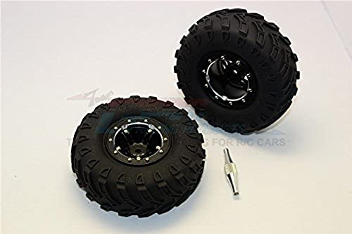 salida para la venta GPM Aluminium 5 Poles Simulation Wheels In plata Edge With With With 1.9  Tire & Hex Tool (All plata Screws) - 1Pr Set negro  ventas de salida