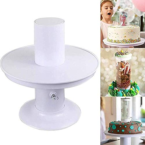 Surprise Birthday Cake Popping Stand, Round Cake Stand, 2 In1 Creative Cake Stand with Pull-Ring Popping Stand, for Kids Adults Birthday Wedding Party Decoration (8 inch)
