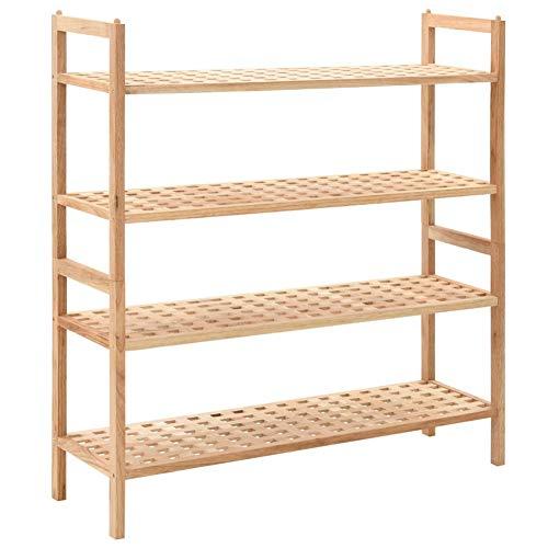 GOTOTOP - Zapatero de 4 niveles, madera maciza de nogal para zapatos, soporte para almacenamiento de zapatos, suministros para muebles para el hogar, 69 x 25,9 x 81 cm