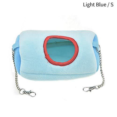Jinclonder Pet Cotton Nest, 2-kleurig, 3-traps Splicing-slaapzak, pluisend materiaal, kleine/grote maten, voor kleine huisdieren, Small, lichtblauw
