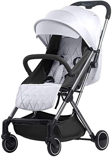 Cochecito ligero con estilo, cochecito de bebé, carrito de bebé, cochecito de bebé ligero para niños pequeños, cochecito de conveniencia para bebé, cochecito plegable (color blanco)