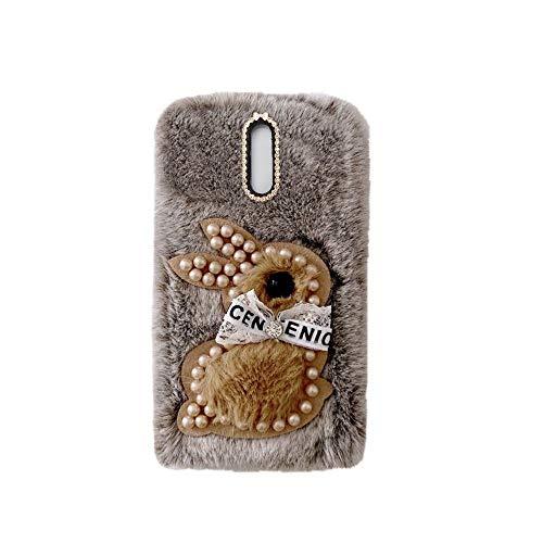 YHY Samsung J3 Pro 2017 Estuche Teléfono Móvil Estilo Lindo 3D Perla Linda Peluche De Conejo para Samsung Galaxy J3 Pro 2017 Marrón
