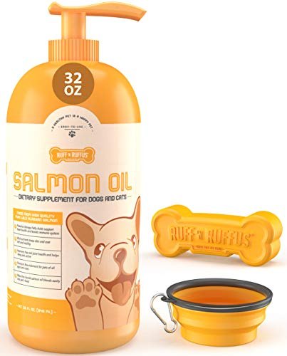 32 Oz 100% Wild Caught Alaskan Salmon Fish Oil for Dogs & Cats + FREE Travel Bowl + FREE Bone Toy   Support Joint Function, Immune & Heart Health   Omega 3 +EPA +DHA for Healthy Skin & Coat Supplement