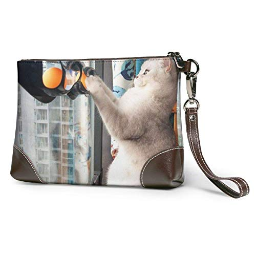 Carteras Women's Leather Wristlet Clutch Wallet Cat Track Ball Toy Purse Phone Handbags...