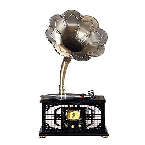 LANGTAOSHA Tocadiscos Retro con Altavoz, Tocadiscos De Gramófono Inalámbrico Bluetooth 4.0, Compatible con Entrada Auxiliar/USB/FM, Regalo para Familiares Y Amigos,Negro