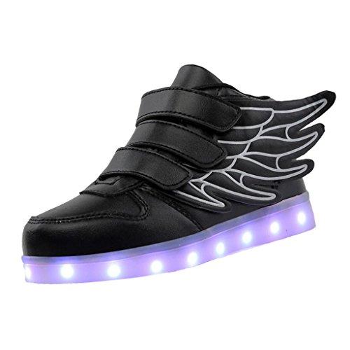 Unisex Flügel LED Schuhe Leuchtende Sneakers USB Aufladen Sportschuhe Blinkende Schuhe für Kinder - Schwarz, 29