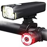 BrightRoad 800 Lumens Bike Light Front and Back Bicycle Lights Set, USB Rechargeable Headlight & Tail Lights IPX6 Waterproof for Cycling – Strong Led Flashlights Increase Visibility Safety Rear Light