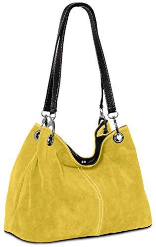 Caspar TL621 Bolso de Mano para Mujer de Cuero Genuino Italiano, Color:amarillo