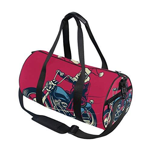 Mnsruu Sporttasche, Reisetasche, Weihnachtsmann, Reiten, Motorradgepäck für Damen und Herren