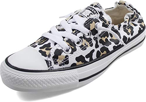 Converse Damen Shoreline Low Top Slip On Sneakers, Leopard/Chetah Print, Weiß/Desert Ore/Schwarz, 6 US