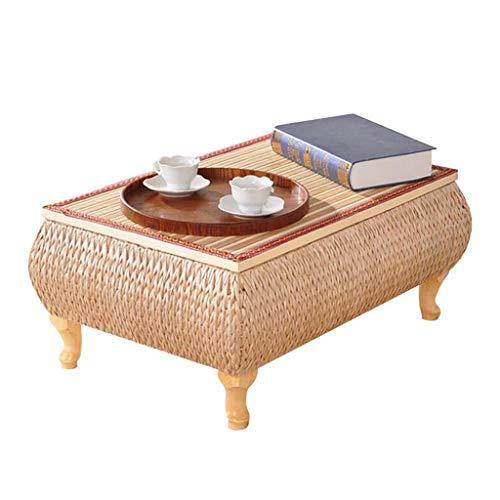 Tables Basse D'appoint en Bambou Basse en Tatami De Rotin Japonais De Rangement Rectangulaire De Fenêtre Tissée À La Main Basses (Color : Wood Color, Size : 65 * 45 * 30cm)