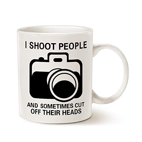 MAUAG Funny Photographer Coffee Mug, I Shoot People and Sometimes Cut Off Their Heads Unique Gag Gifts for Photography Lover Cup White, 11 Oz