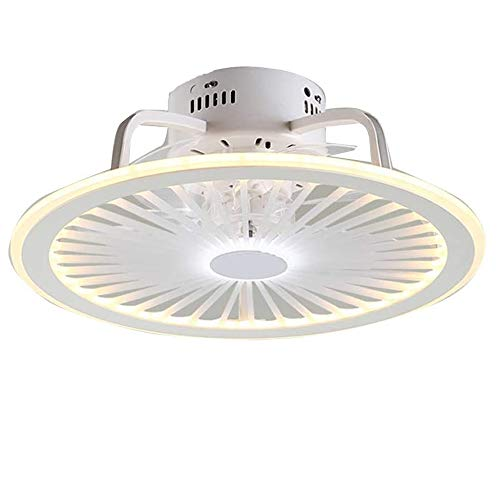 Luz Del Ventilador Del Ventilador LED Con Las Luces Iluminación Lámpara Techo Regulable Mando A Distancia Moderno Ultrafino Invisible Ultra Silencioso Salón Dormitorio Puede Sincronización (Wh