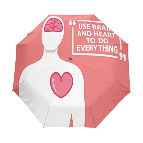 SUHETI Paraguas automático de Apertura/Cierre,Cita Figura Humana con Palabras Imprimir,Paraguas pequeño Plegable a Prueba de Viento
