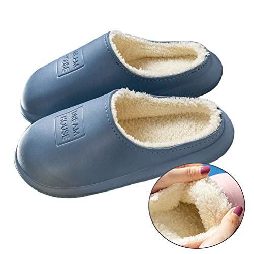 QLIGHA Zapatillas de Mujer con Forro de Felpa Impermeables, cómodas, Ligeras, Interiores y Exteriores, Antideslizantes, para el hogar, cálidas y Gruesas, Zapatillas de Invierno para Hombre, Azul, 4