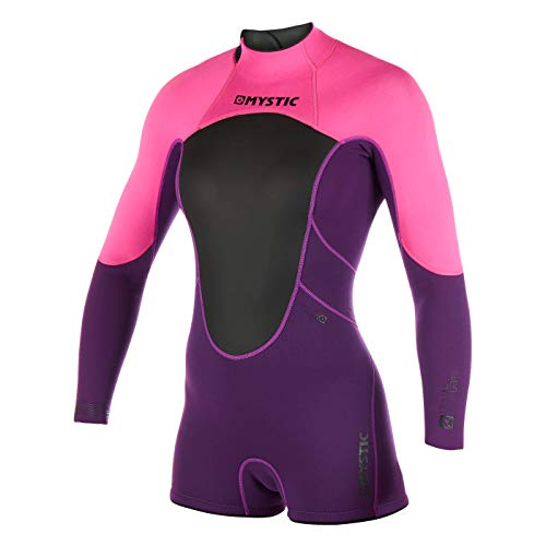 Mystic Watersport - Surf KiteSurf & Windsurfen Womens Brand 3/2mm Lange Arm Shorty Wetsuit Purple - Easy Stretch