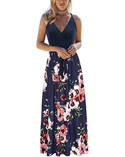 OUGES Lunga Estate Donna Abito Lungo v - Forma Senza Maniche Abito Floreale Casual Elegante Beach Pad Party Casual Pocket Dress(Fiori a-OE628,)