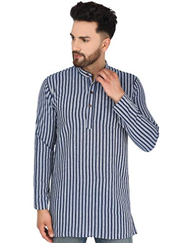 SKAVIJ Herren Tunika Kurta Hemd Kleidung Rundhals (Blau Streifen, M)