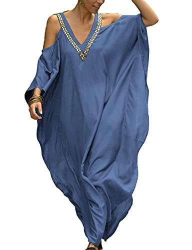 LVCBL kimono para mujer, talla grande, kimono caftán, túnica con cuello en...