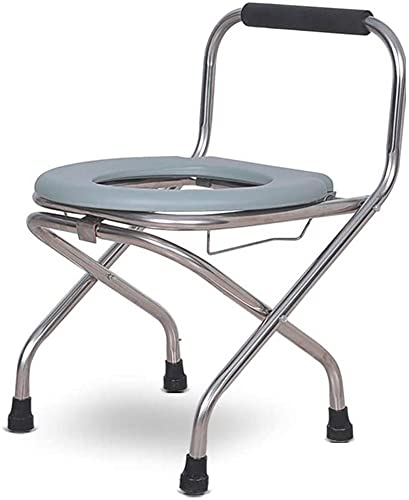 ZGYZ Stainless Steel Commode Chair Folding Toilet Chair Elderly Bath Chair,Thickened Sitting Board,Removable Chamber Pot,Ideal for Elderly,Pregnant Women