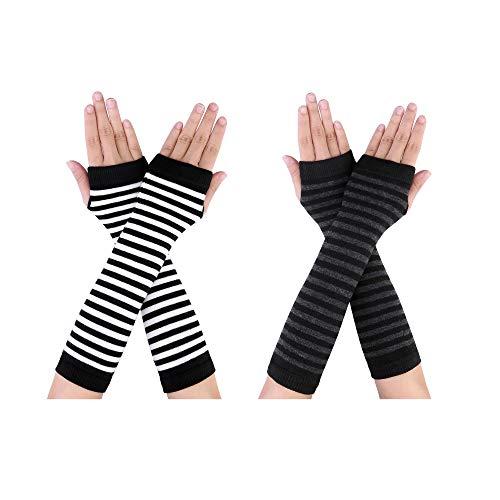 CHIC DIARY Damen Fingerlose Armstulpen Armwärmer Langarm Fäustlinge Handschuhe Lange Stulpen für Herbst Winter