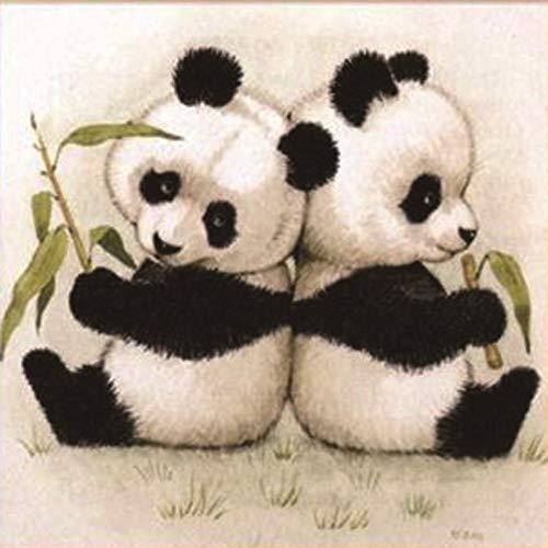 MAXLEAF 5D Full Diamond Painting Kits Creative DIY Art Craft Cute Pandas with Diamonds for Kids Adults (Two Pandas)
