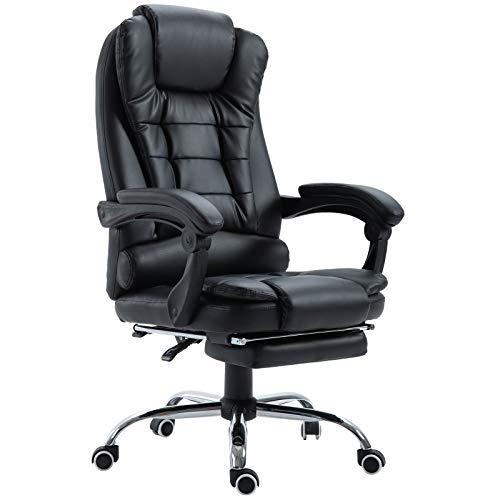 Fauteuil de bureau fauteuil manager grand confort dossier inclinable roulettes P.U 65 x 69 x 127 cm noir