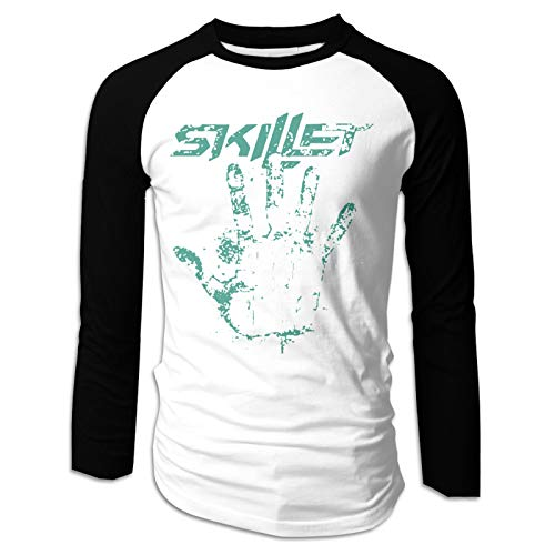 WoodWorths Skillet Band Men Boy'S Long Sleeve Raglan Tee T-Shirt Fashion(Medium,Black)